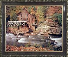 Glade Creek Mill Nature Trees Landscape Wall Decor Mahogany Framed Picture