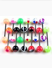TOUNGE RING BODY PIERCING BARBELL LOT OF 5 ACRYLIC SURGICAL STAINLESS STEEL