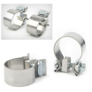 Pair 1.75 inch Stainless Steel Exhaust Clamp Replacement Universal For Harley