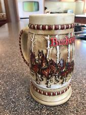 Vintage 1981 Ceramarte Budweiser Clydesdales Holiday Beer Mug Stein Glass Cup