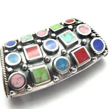 Gorgeous .925 Enhancer Slide Pendant with Lapis, Gaspeite, Red, Pink
