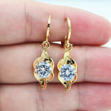 18K Yellow Gold Filled Curve White Round Zircon Topaz Lady Dangle Drop Earrings