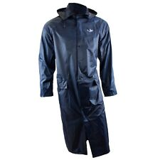 RK Safety RC-PP-NVY44 Navy PVC Polyester Trench Rain Long Coat With Hoodie