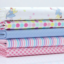 5 FQ Bundle FARIES ON WHITE / PINK & BLUE DOTS & STRIPES  cotton fabric FAIRY #2