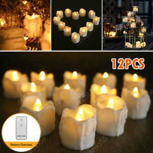 12/24 x FLICKERING LED TEA LIGHT CANDLES TEALIGHT TEA LIGHTS WITH BATTERIES NEW