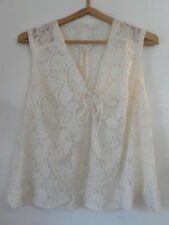 Vintage Creamy White French LACE Sleeveless TOP Adjustable String, Paris, France