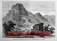 Greece Cyprus Templos, Saint Hilarion Castle, 1870s Antique Print & Article