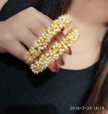 Kada C 00004000 Z Pearl Jewellery Set Indian Ethnic Gold Plated Bracelet Bangles