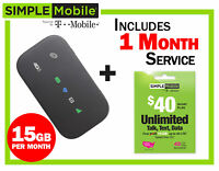 New Mobile Hotspot ZTE Z291 4G LTE + 1 months Simple Mobile $40 Plan 15GB/mo