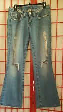 True Religion #500 Big Rig Stone Tint Flare Factory Destroyed  Jeans. Size 29