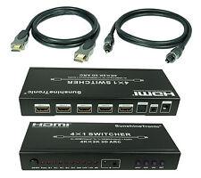 Premium 4x1 HDMI Audio-Extraktor(4K x 2K) + 4x 1,5m HDMI Kabel + 1,5m Toslink#AK