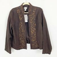 NEW Chicos Womens Blazer Jacket Embroidered Beaded Open Front Size Large Brown
