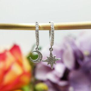 Moon & Star Dangle Huggie Charm Earrings in Sterling Silver