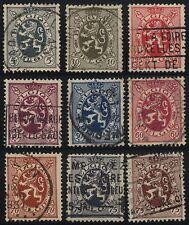 9x 1929 BELGIUM Lion Rampant Cancels Postage Stamps