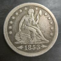 1853 SEATED LIBERTY QUARTER ARROWS & RAYS VF Very Fine or (ebay) XF Original