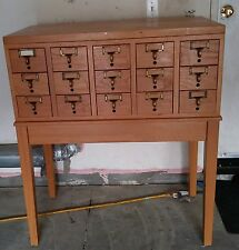 Vintage Library Card Catalog Filing Cabinet Table with Legs 15 Drawers