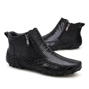 British Mens genuine Leather Boots Alligator Print High Top Dress Formal Shoes