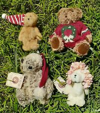 Lot Of 4 Mini Christmas Teddy Bears Boyd & Russ 2 Jointed