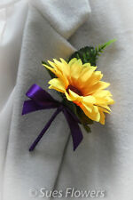 Single Buttonholes in Sunflowers and Purple