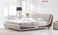 NEW ITALIAN DESIGNED KING SIZE BROWN & BEIGE PU LEATHER BED FRAME