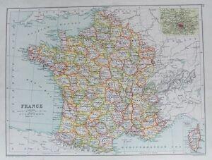 OLD ANTIQUE MAP FRANCE plan PARIS CORSICA c1906 by BARTHOLOMEW PRINTED COLOUR