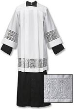 Catholic Box Pleated Surplice with Latin Cross and IHS Lace SM, MED, LARGE, X-LG
