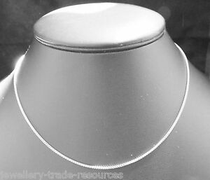 """18CT WHITE GOLD NECKLACE CHAIN OR PENDANT FRANCO 16"""" or 18"""" INCHES 1.3mm WIDE"""