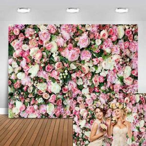 Avezano 7x5ft Flower Wall Backdrop Fresh Roses Wedding Decoration Bridal Party