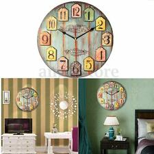 DIY Large Wooden Wall Clock Home decor Shabby Chic Rustic Retro Kitchen Antique