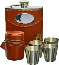More details for hip flask set - 6oz brown spanish leather with engraving silver plate