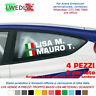 4 Adesivo sticker NOME PILOTA AUTO STILE RALLY tuning auto moto lato Dx e SX