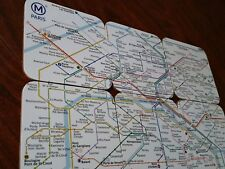 6 AWESOME PARIS METRO DRINK MATS COASTERS SUBWAY FRANCE CORK BACKED