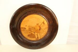 """Vintage Hand Made All Wood with Inlay Center Charger 13.5"""" diameter"""