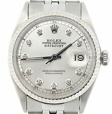 Rolex Datejust Mens Stainless Steel Jubilee Watch with Silver Diamond Dial 1601