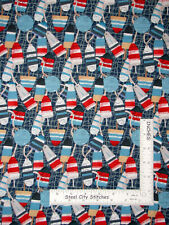 Nautical Buoy Sail Boat Harbor Days Cotton Fabric Blank Textiles By The Yard