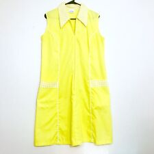 1950's Vintage Yellow Diner Style Zip Front Dress, Size Medium