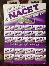 100 Blades Gillette NACET NEW STAINLESS Double edge blade Razor blades. Sale