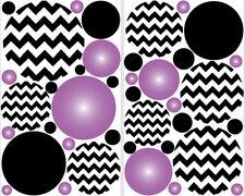 POLKA DOTS CIRCLES  wall stickers 39 decals PURPLE RADIALS CHEVRON print teen