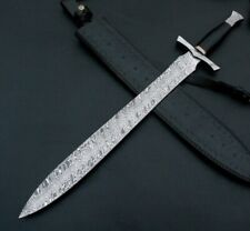 Custom Handmade Damascus steel Viking Sword 30 Inches W/Leather Sheath