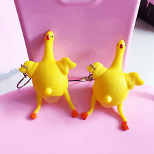 1x Squeeze Chicken Laying Egg Keychain,Stress Relief Vent Tricky Keychain Toys