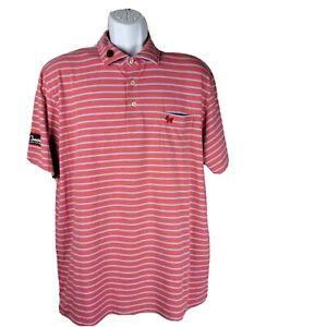 Scotty Cameron Peter Millar Golf Polo Shirt Large Pink Blue Stripes Seaside Wash