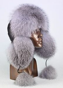 Premium Saga Furs Genuine Real Fox Fur Genuine Leather Fancy Winter Trapper Hat
