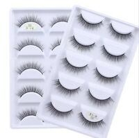 SKONHED 5 Pairs 3D Mink Soft Hair False Eyelashes Wispy Cross Long Lashes Makeup