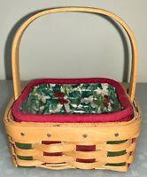 Longaberger Holiday Helper Stuck On You Basket 2003 Holly Liner Complete