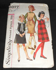 Vintage 1960's Simplicity  Pattern #5077 Girl Size 12 Jumper and Blouse