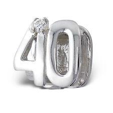 40th Compleanno Di Cristallo CZ Argento Sterling Charm Bead Europeo