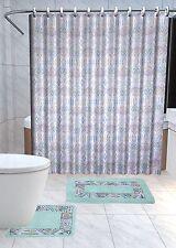 Sareena 15-Pc Bathroom Accessories Set Rugs Shower Curtain Bath - Green & Yellow