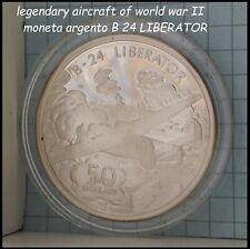 aereo Guerra Mondiale WWII B24 LIBERATOR moneta di argento da collezione silver