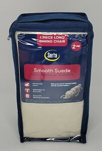 Serta Relaxed Fit Smooth Suede Furniture Slipcover 2 pk Dining Chair Long Skirt
