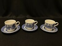 Churchill England Blue Willow Cups & Saucers Lot Of 3 Coffee Tea Cups W/ Saucers